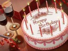 праздники - день рождения - вино, свечи, торт