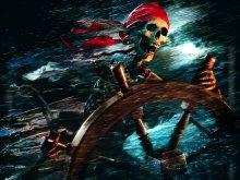 кино - пираты карибского моря - ветер, скелет, штурвал